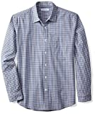 Amazon Essentials Men's Regular-Fit Long-Sleeve Casual Poplin Shirt, Blue/Black Gingham, XX-Large