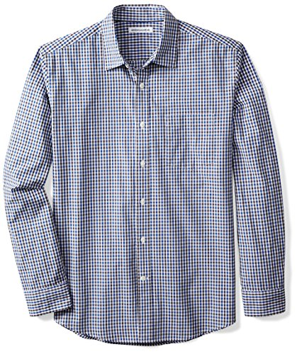 Amazon Essentials Men's Regular-Fit Long-Sleeve Casual Poplin Shirt, Blue/Black Gingham, X-Large