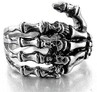 Gothic Skeleton Rings Skull Hand Rings Bone Skull Finger Bone Ring for Man Women Jewelry 7-12 Size