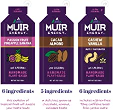 Muir Energy Real Food Energy Gel Variety Pack - 12-Count - Organic Fuel for Endurance Athletes (Passion Fruit Pineapple Banana/Cacao Almond/Cashew Vanilla Mate)