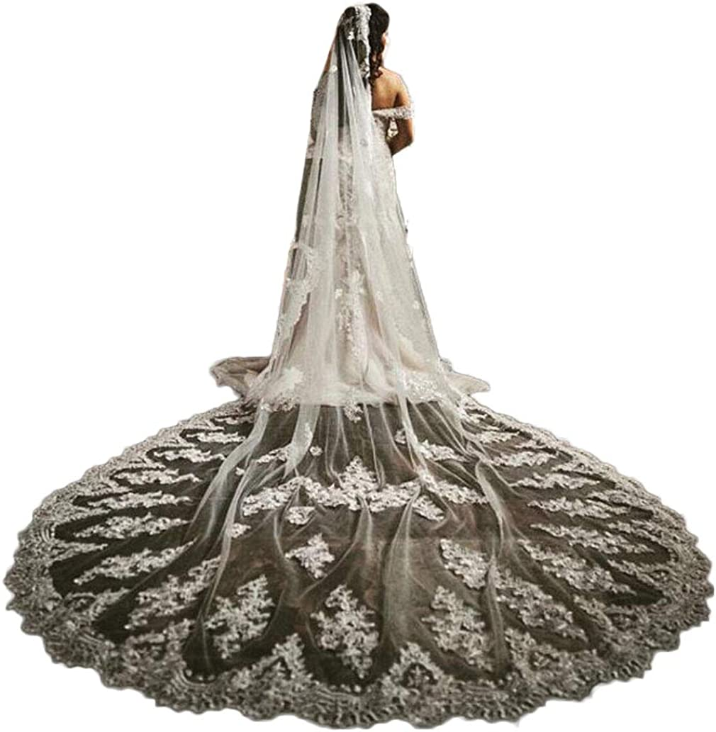 1t Cathedral Wedding Veils for Brides with Lace Edge free Metal Comb