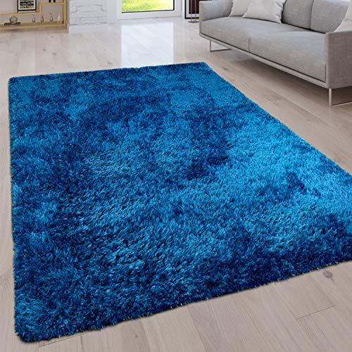 Paco Home Hochflor Wohnzimmer Teppich Waschbar Shaggy Uni In Versch. Größen u. Farben, Grösse:80x150 cm, Farbe:Blau