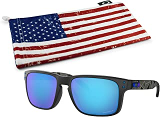 Holbrook Sunglasses (Matte Black Prizmatic Frame, Prizm Sapphire Polarized Lens) with Country Flag Microbag