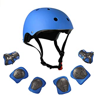 Warm House Kids Toddler Protective Gear and Helmet Sets,3 to 8 Years Old Kids Helmet and Pads Set[Knee Pads,Wrist Pads and Elbow Pads] for Skateboarding, Skating, Scooter, Cycling