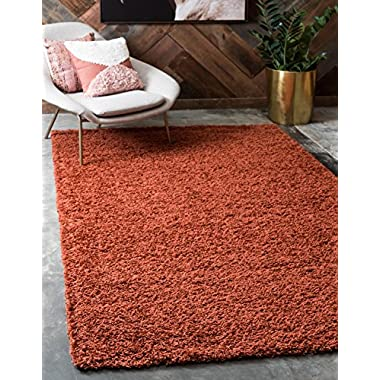 Unique Loom Solo Solid Shag Collection Modern Plush Terracotta Rectangle (4' x 6')