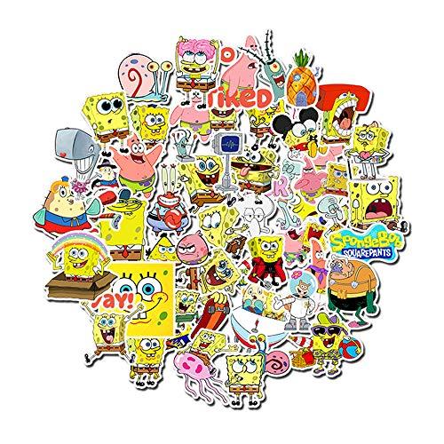 Chengya 50 Spongebob Cute Cartoon Stickers Graffiti Waterproof Skateboard Stickers Personalized Suitcase Computer Stickers
