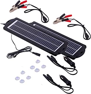 MEGSUN 3W 12V Car Battery Trickle Charger (2 Pairs) Waterproof Portable High Conversion Mono Solar Panel with Cigarette Lighter Plug,Battery Charging Clip Line,Suction Cups for Rv Motorcycle Boat