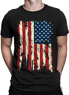SpiritForged Apparel Vintage Distressed USA Flag Men's T-Shirt