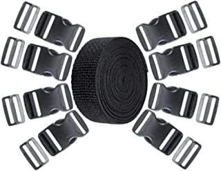 1 1/2 Inch Plastic Buckles Kit - 5 Yards of 1 1/2 Inch Nylon Webbing in Black, 8 Pack of Tri-Glide Slides, and 8 Pack of Side Release Plastic Buckles
