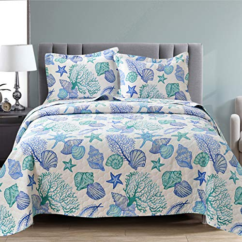 3Pcs Lightweight Beach Bedspreads Reversible Ocean Bedding Pillow Shams,Summer Coastal Thin Quilts Starfish Seashell Conch Coverlet Set King Size…