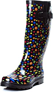 Women's Mid Calf Multi Dot Rain Snow Rubber Boots Flat Wellies