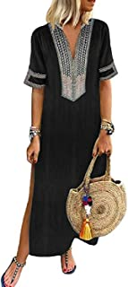 Sexyshine Women's Boho Floral Silky Vintage Elegant Loose Long Maxi Dress Casual V-Neck Baggy Split Kaftan Dresses