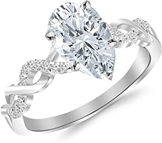 1.63 Ctw Twisting Infinity Gold and Split Shank Pave Set Engagement Ring w/Pear 1.5 Carat Forever One Moissanite Center