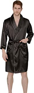 Men's Summer Luxurious Kimono Soft Satin Robe with Shorts Nightgown Long-Sleeve Pajamas Printed Bathrobes