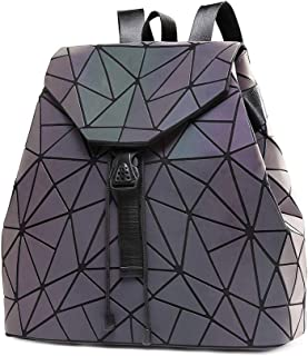 DIOMO Women Backpack Luminous Geometric Plaid Sequin Backpacks Drawstring Bag Fashion Backpack