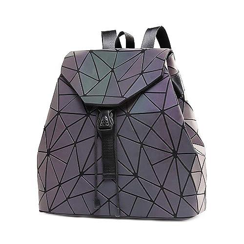 DIOMO Geometric Lingge Women Backpack Luminous Flash Mens Travel Shoulder Bag Rucksack