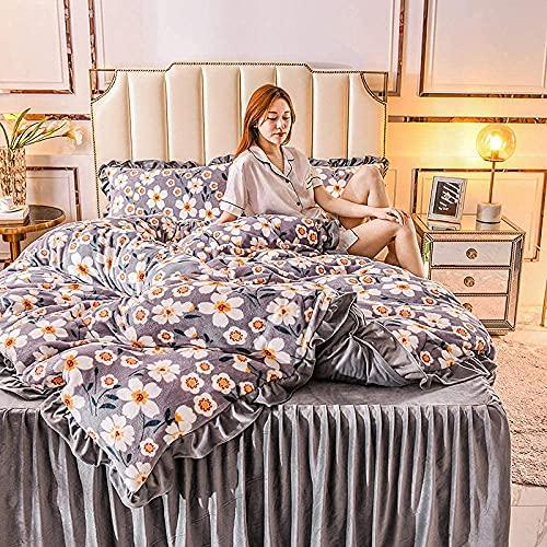 N&G Juego de sábanas para decoración del hogar, súper Suave, sábana de Franela navideña de Invierno Gruesa, Funda nórdica, Ropa de Cama de Cuatro Piezas, Cama S_1.5M (4 Piezas)