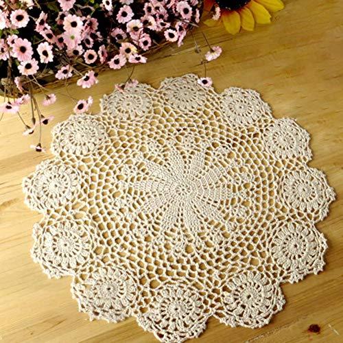 SNIIA Mantel De Encaje Crochet Tela De Algodón Crochet Romántico Redondo Hueco Floral Bordado Encaje Manteles Estilo Decoración del Hogar para Bodas Y Hoteles 35 A 40cm-Beige