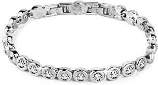 Conmisun Cubic Zirconia Tennis Bracelet for Women, Round Cut Swarovski Crystals Men Bracelets White Gold Plated Jewelry Gi...