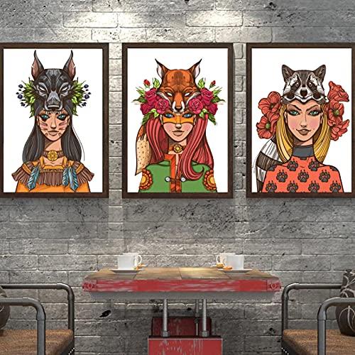 Fox Raccoon Girl Pintura abstracta Arte de la pared Pintura en lienzo Carteles e impresiones nórdicos Imágenes de pared de animales para sala de estar-50x70 cm x3 Sin marco