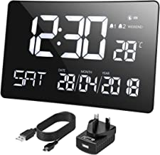 Mpow Large Digital Clock, 11'' Large Curved-Screen, Digital Alarm Clock Wall Clock Non-Ticking with Light Sensor, Dual-Alarms, Date,Week, Indoor Temperature, for Home, Office(Adapter Included)
