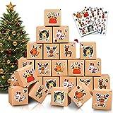 Mizijia Calendario Dell'avvento, 24 Scatole Avvento Calendario con 1-24 Adesivi Numerici, Sacchetto Regalo di Natale, Sorpresa di Natale Bambini (Box)