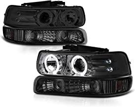 VIPMOTOZ Chrome Smoke LED Halo Ring Projector Headlight + Front Bumper Parking Turn Signal Lamp Assembly Replacement For 1999-2002 Chevy Silverado 1500 2500 3500 & 2000-2006 Tahoe Suburban