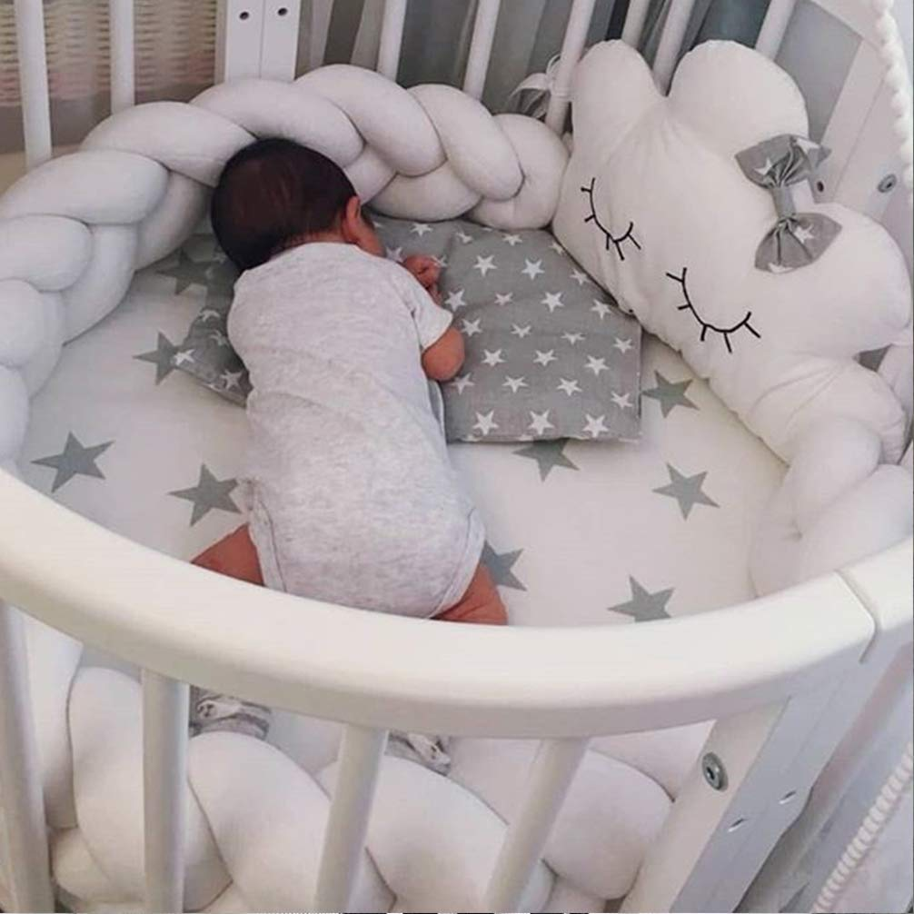 3m Gray, 118 inches Soft Baby Bed Bumper Knotted Woven Plush Pillow Decorative Baby Bed Crib Bumper Pillow Cushion