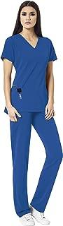 WonderWink HP Women's Scrub Set Bundle- 6312 Mock Wrap Top & 5112 Hybrid Pull-on Pant & Marc Stevens Badge Reel