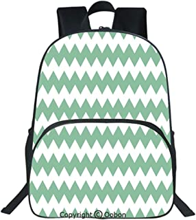 Oobon Kids Toddler School Waterproof 3D Cartoon Backpack, Chevron Pattern Horizontal Zigzag Twisty Turns Modern Aztec Folk Inspirations, Fits 14 Inch Laptop