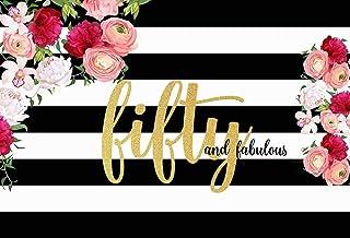 NIVIUS PHOTO Fifty and Fabulous Hintergrund mit Blumenstreifen zum 50. Geburtstag, Fotografie Hintergrund, 2,1 x 1,5 m, Polyester, für Frauen zum 50. Geburtstag, Party Hintergrund W 2286