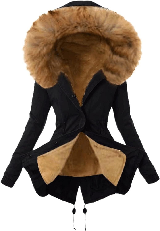 Womens Fleece Lining Coat Plus Size Ladies Furry Wool Overcoat Winter Warm Thickened Hoodies Jacket Hooded Outerwear