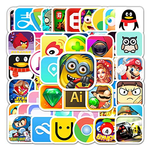 WYZNB Etiqueta engomada del icono de la aplicación de la historieta como él o dejarlo insignia decoración del monopatín impermeable del ordenador portátil graffiti