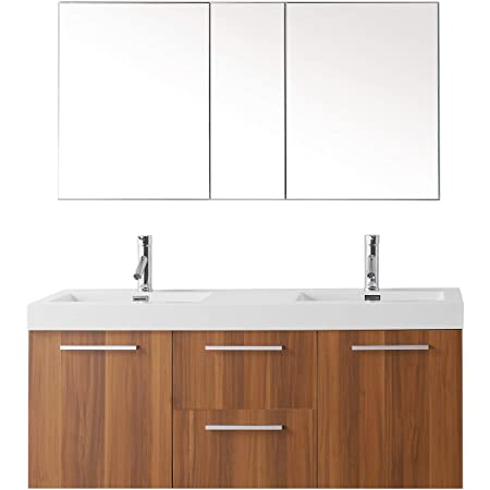 Virtu Usa Midori 54 Inch Double Sink Bathroom Vanity Set In Plum W Integrated Square Sink White Polymarble Countertop Single Hole Polished Chrome No Mirror Jd 50154 Pl Amazon Com
