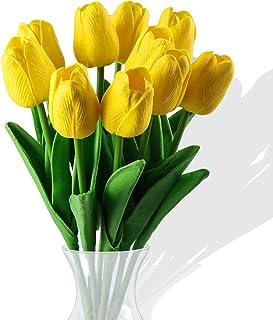 10 Pcs Fleurs de Tulipes artificielles,Fleurs artificielles, Bouquet de Fausses Fleurs en Soie Tulipe Real Touch Bouquet d...
