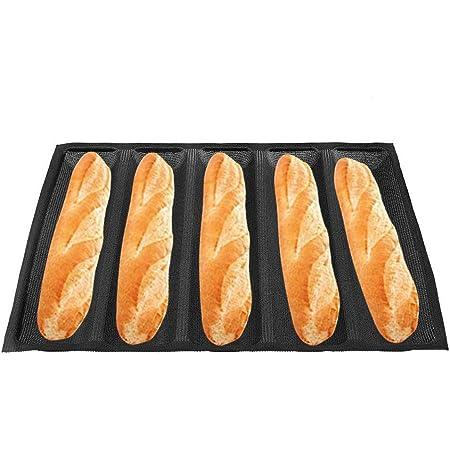 5 Pan de silicona Molde de pan de baguette Pan francés Hornear artículos Bandeja Reutilizable Antiadherente Hot Dog Moldes para pan
