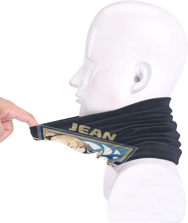 Jean Genshin Impact Collection Face Mask Neck Gaiter Bandana Balaclava Unisex Breathable Scarf Windproof