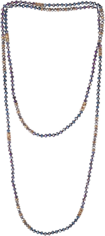 KELITCH New Soutoir Necklaces Crystal Beaded Strand Necklace Double Boho Women Necklace