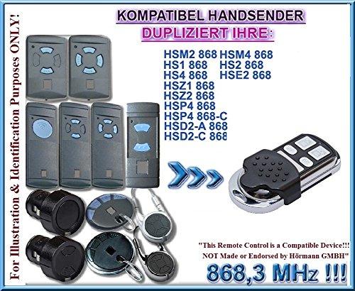Hörmann HSM2, HSM4, HS1, HS4, HSE2, HSD2, HSP4, HSZ2 kompatibel handsender, klone fernbedienung, 4-kanal 868.3Mhz fixed code. (Nicht kompatibel mit BS BiSecur fernbedienungen)