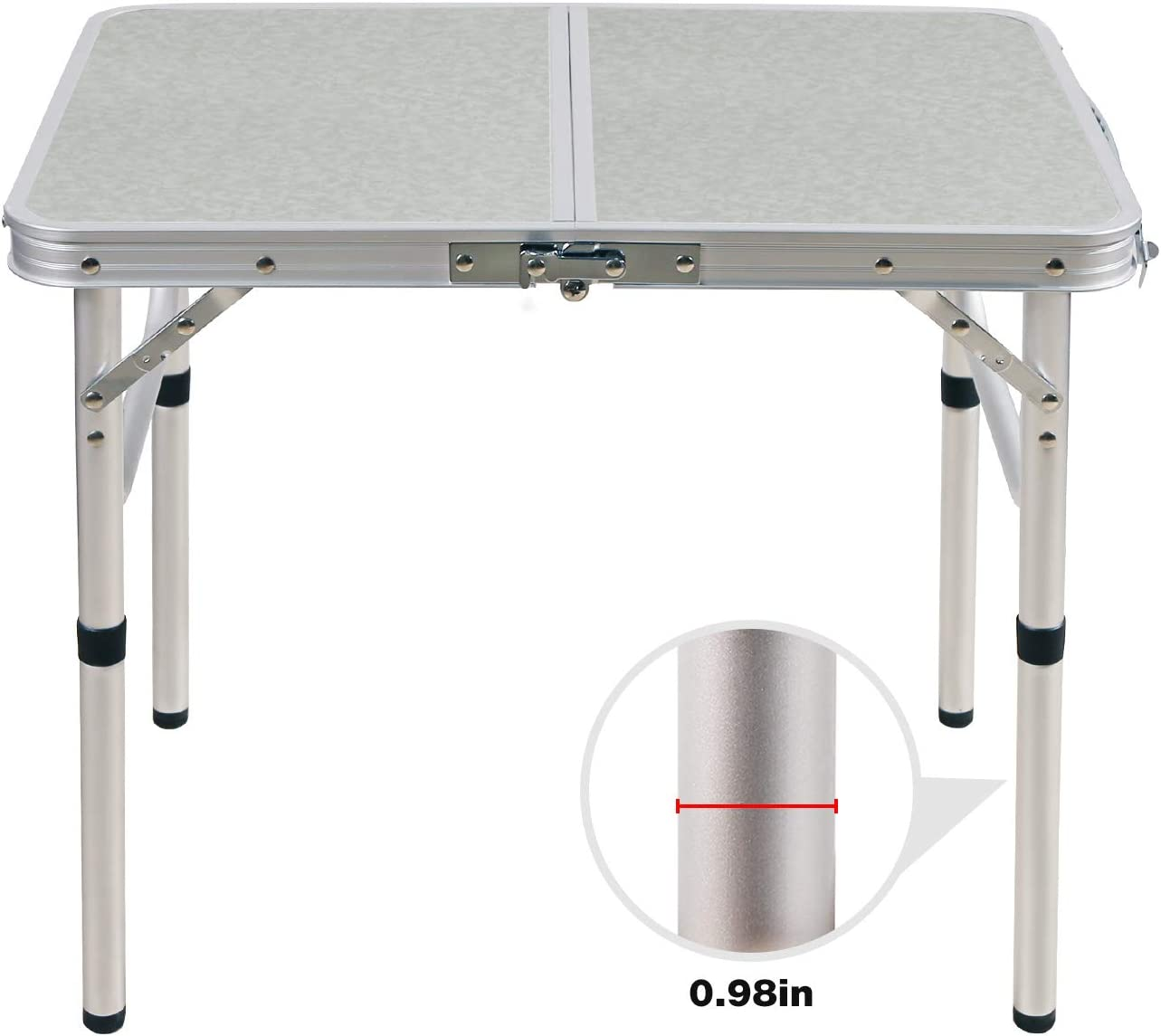 CAMPMOON Folding Camping Table 2//3//4 Foot White Great for Outdoor Cooking Picnic Lightweight Portable Aluminum Folding Table with Adjustable Legs