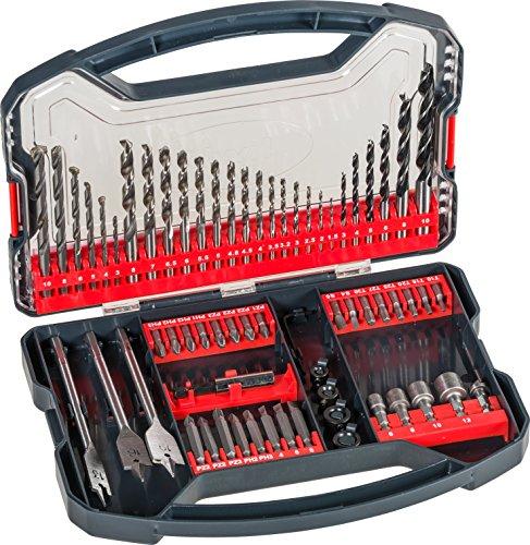 kwb Power-Box 62-tlg. Bohrer- und Bit-Set, bestehend aus Bits, Stecknüssen, Stein-Bohrer, Holz-Bohrer, Metall-Bohrer & Fräs-Bohrer in robuster Box mit Tragegriff