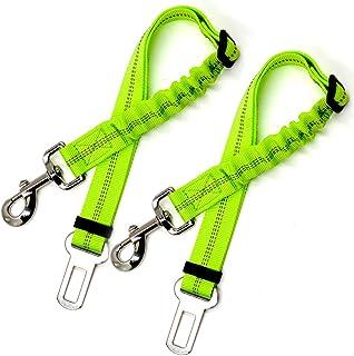 Dog Car Seat Belt (2 Pack) - Safety Fluorescent Green, Adjustable Elastic Dog Extendable Leash