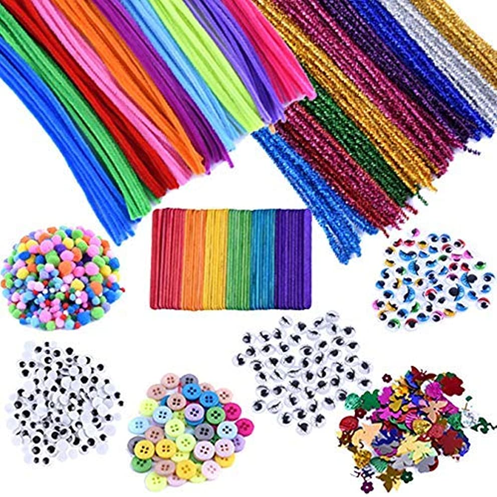 EpiqueOne 1090 Piece Kids Art Craft Supplies Assortment Set for School Projects, DIY Activities & Parties; Pipe Cleaners & Chenile, Pom Poms, Googly & Colored Eyes, Craft Sticks, Buttons & Sequins