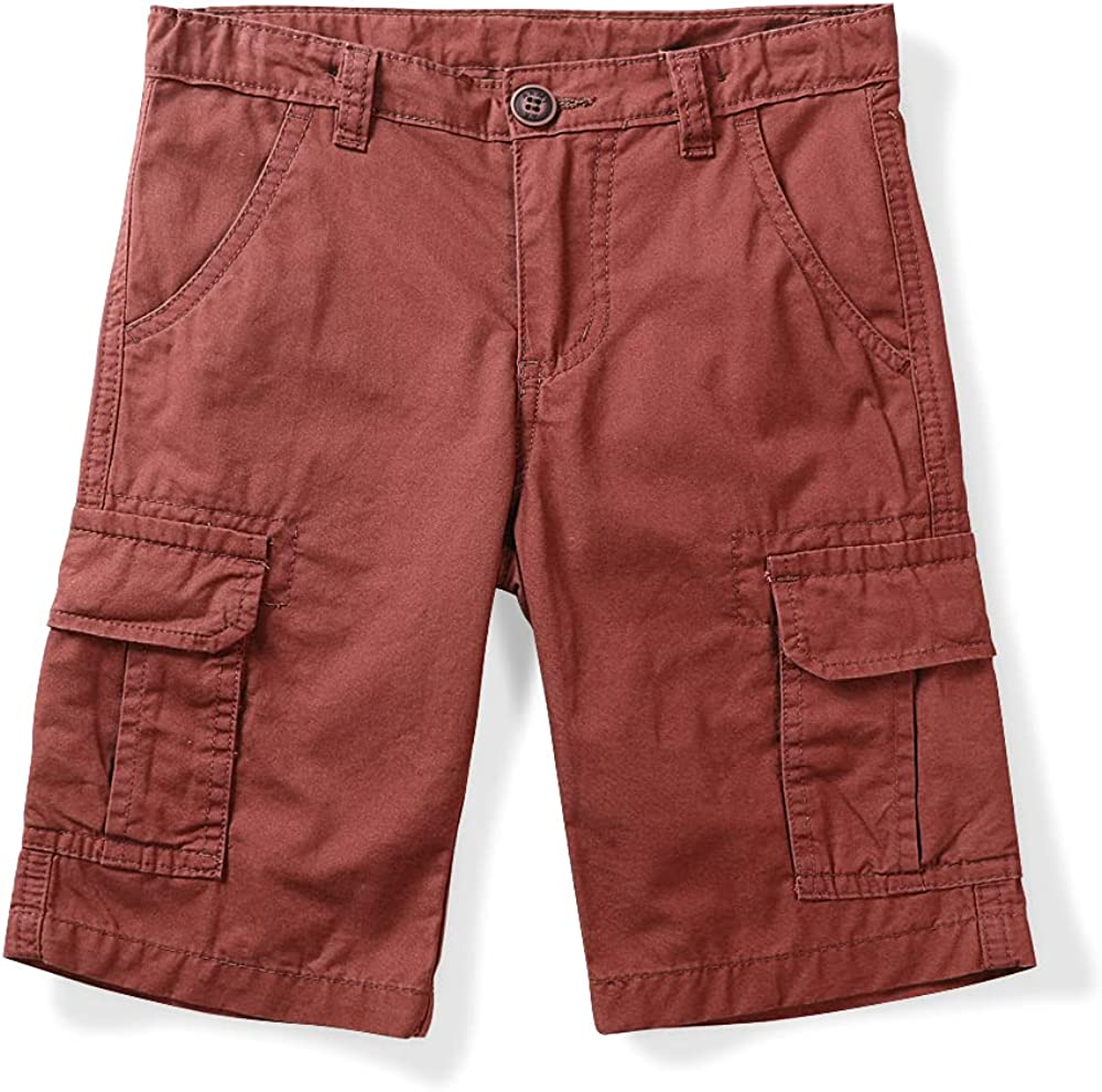 OCHENTA Boys Cargo Shorts Little Big Kids Boy Shorts with Pockets for Hiking Camping Army Travel Red Tag 150-9-10 Years