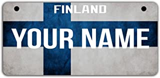 BleuReign(TM Personalized Custom Name Country Finland Flag Motorcycle Moped Golf Cart License Plate Auto Tag