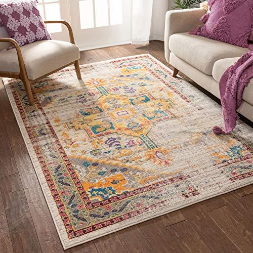 Vintage Heriz Teppich mit floralem Medaillon, traditionell, mehrfarbig, Beige, Fuszia, Orange, Gelb, 120 x 160 cm