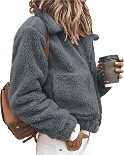 Women's Fuzzy Long Sleeve Lapel Zip Up Faux Shearling Shaggy Coat Fleece Jacket with Pockets