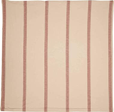 "Piper Classics Market Place Red Grain Sack Stripe Duvet Comforter Cover, King Size, 92"" x 108"", Brick Red & Natur"