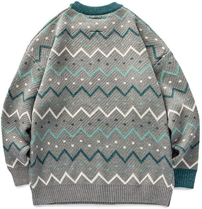 ZYING Youth Men Striped Vintage Winter Sweaters 2020 Pullover Oversize Korean Fashions Sweater Women Casual Vintage Clothes (Color : Grey, Size : XL-Length -69CM)