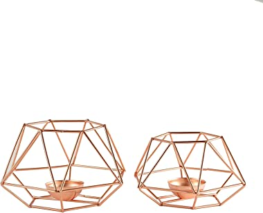 "Efavormart Set of 2 Rose Gold Metal Hexagon Top Geometrical Tealight Candle Holders Flower Vase - 4""|3"""